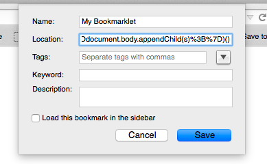 Installing Bookmarklets
