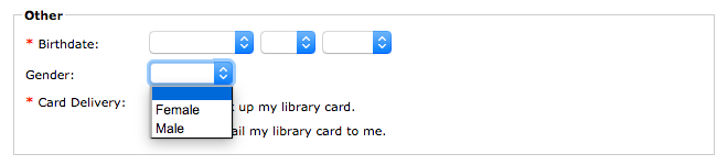 Brooklyn Public Library Card Application showing gender binary selector