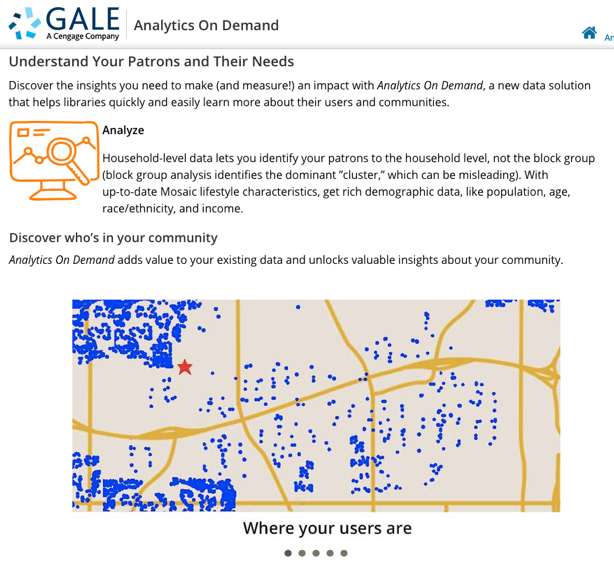 Marketing materials for Gale's Analytics on Demand Service
