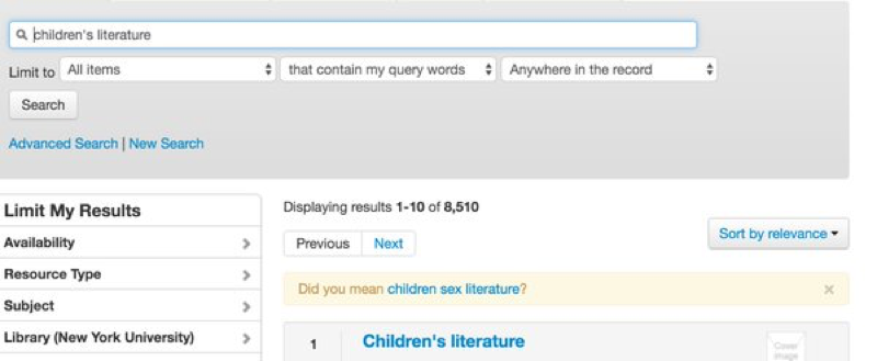 Primo search reslts page suggesting Children's Sex Literature to someone searching for children's literature
